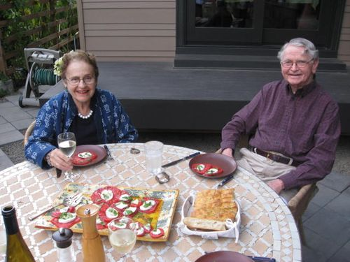 Aunt Freddie & Uncle Buzzy enjoying a caprese salad in Portland